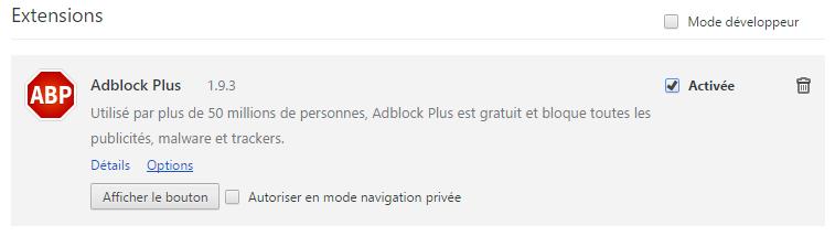 Création du compte via Facebook login : désactiver le module Adblock