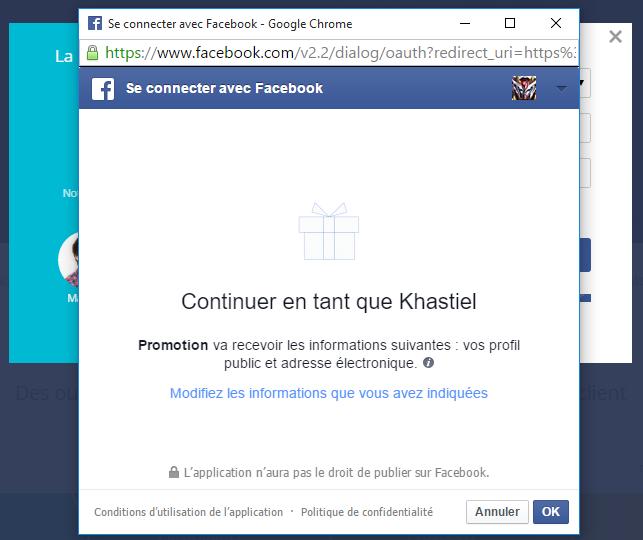 Création du compte par le Facebook Login : Valider sur OK
