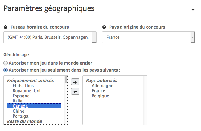 geobloquage et définition des paramètres géographiques dans l'étape description