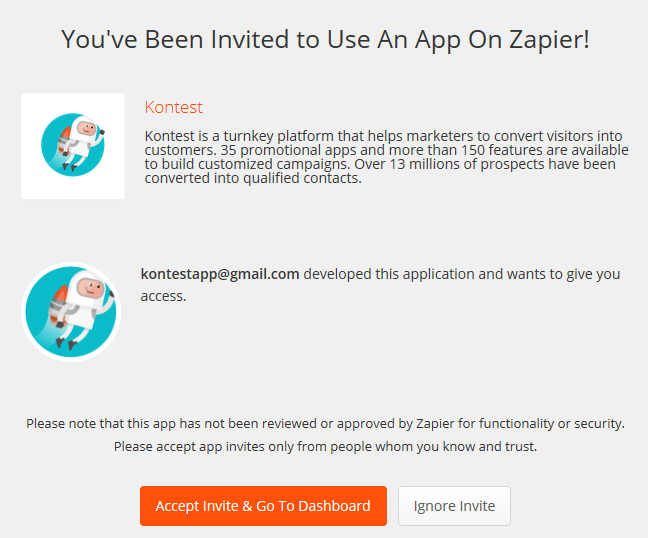 Invitation à l'utilisation de l'application Kontest dans Zapier
