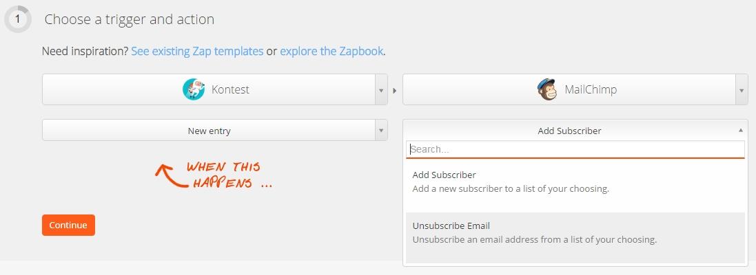 Parametrage des envois d'informations dans l'application tierce sur Zapier