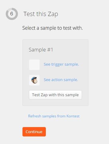 """Accès au bouton """"Test this Zap with sample"""" pour procéder à un test"""