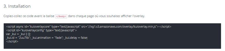 Code HTML de l'Overlay