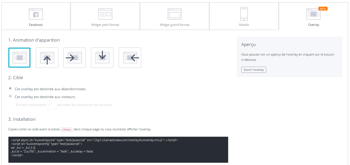 Overlay (pop-in sur site web)
